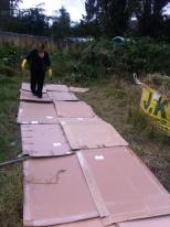 flattened cardboard. The rest has newspaper