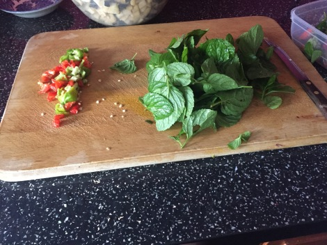 scotch bonnets and mint ready to go